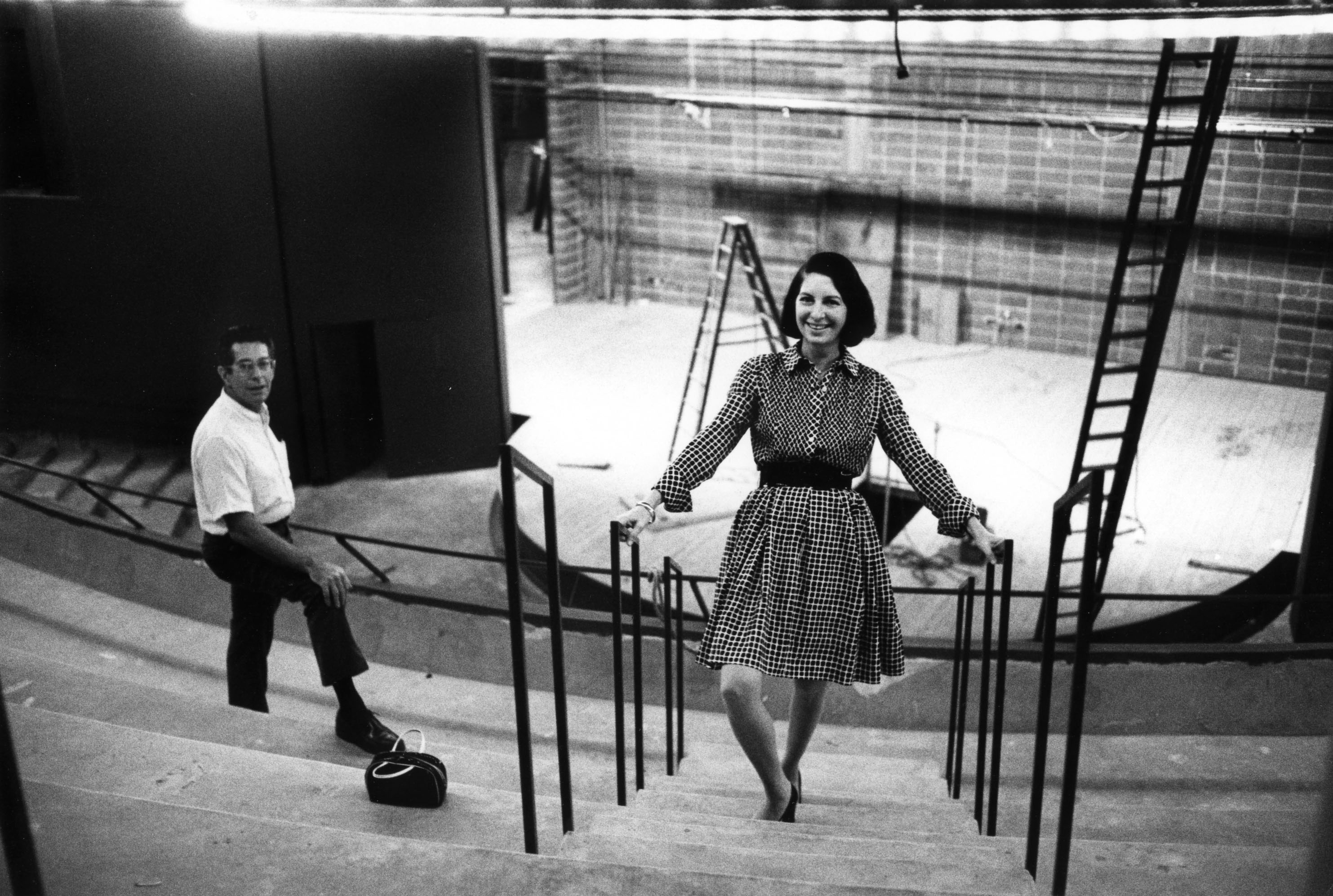 Zelda + Thomas Fichandler during the construction of the Kreeger Theatre in 1970 c/o Arena Stage